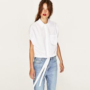 Zara tie front blouse